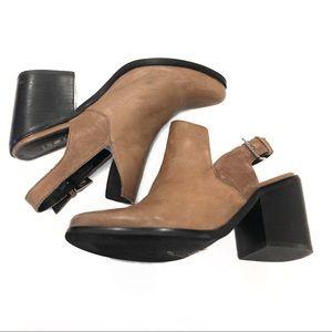 Slingback Block Heel Distressed Ankle Bootie